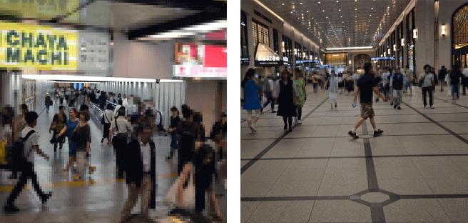 梅田駅歩く歩道